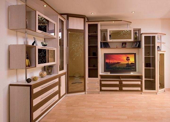 Угловая горка с нишей для телевизора,шкафом,витриной в зал